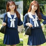 <malymoon>純白リボンの紺色長袖セーラー服3点セット(衣装・コスチューム)